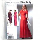 Misses Vintage 1940s Gown Dress 6 - 14 Simplicity Sewing Pattern D0576