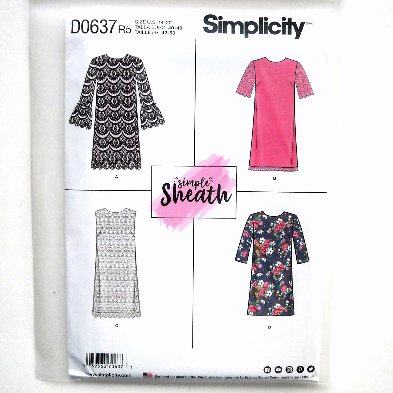 Misses Miss Petite Dresses 14 - 22 Simplicity Sewing Pattern D0637