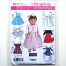 "18"" Doll Clothes Dress Tops Skirts Wrights Elaine Heigl Designs Simplicity Pattern 4364"