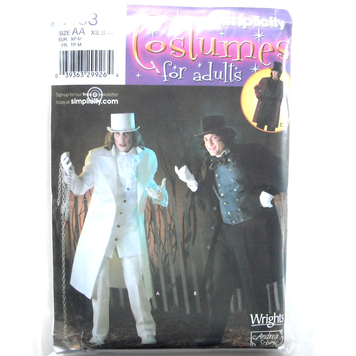 Adults Costumes Coat Vest Dickey Hat Suit XS - M Wrights Mens Simplicity Pattern 4083
