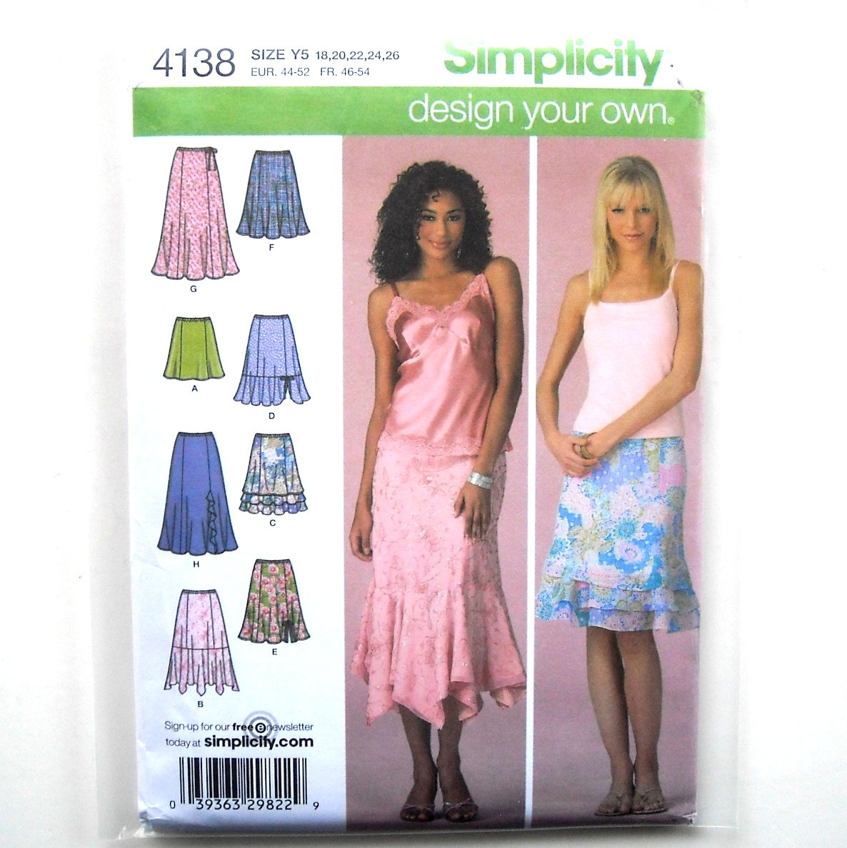 Misses Petite Summer Skirts 18 - 26 Design Your Own Simplicity Pattern 4138