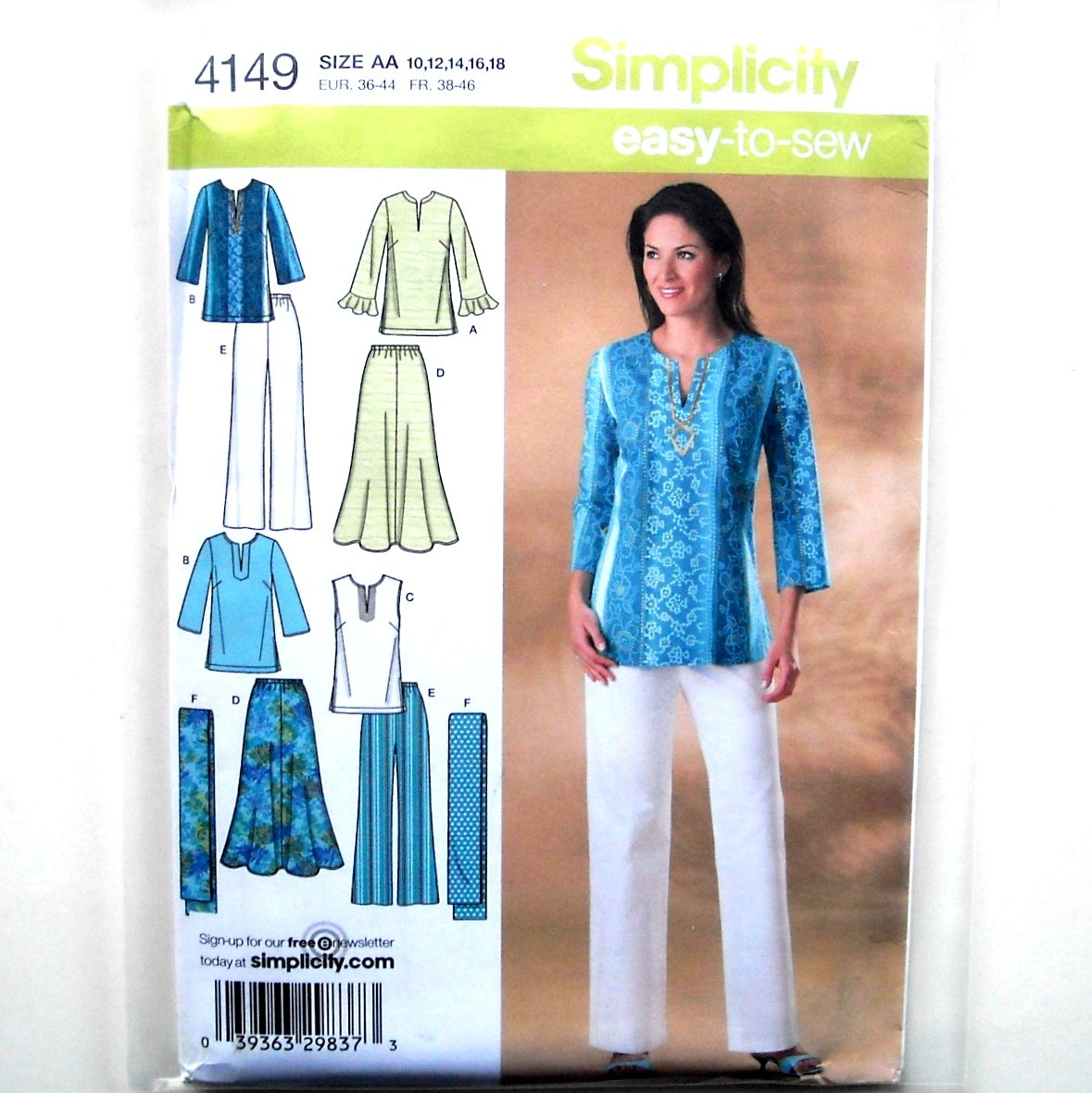 Summer Skirts Pants Tunic Scarf Easy To Sew Simplicity Pattern 4149