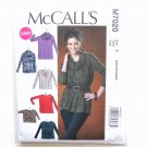 Misses Pullover Tops Tunic XS S M Easy McCalls Sewing Pattern M7020