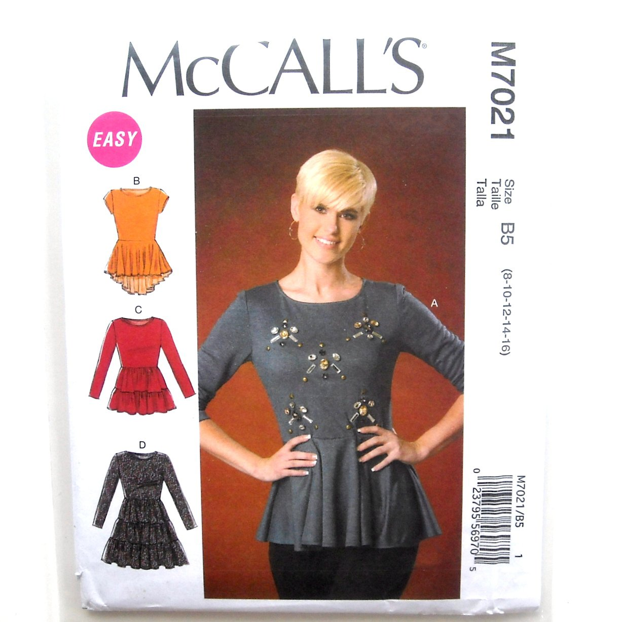 Misses Tops Tunic 8 10 12 14 16 Easy McCalls Sewing Pattern M7021