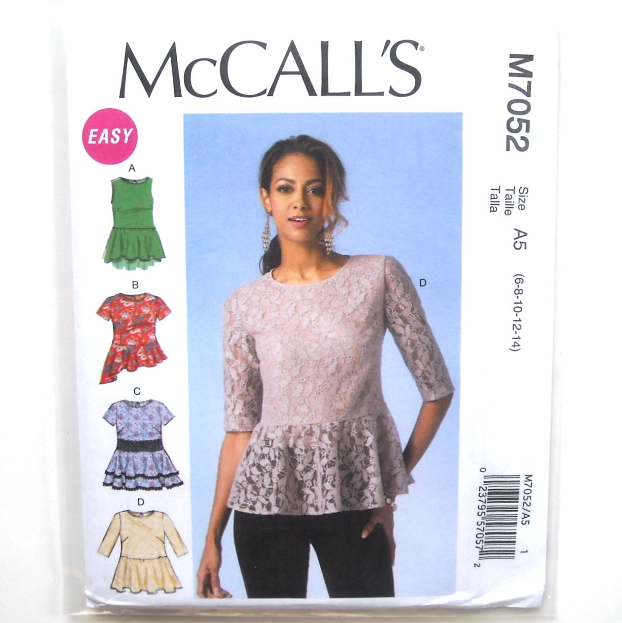Misses Pullover Tops 6 8 10 12 14 Easy McCalls Sewing Pattern M7052