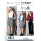 Simplicity Pattern 2345 Threads Step By Step 16 - 24 Misses Miss Petite Jacket Pants Dress