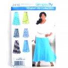 Misses Womens Skirts 10 - 18 Khaliah Ali Simplicity Sewing Pattern 2416