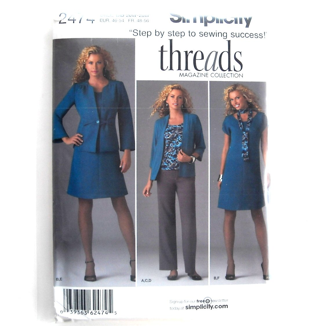 Simplicity Pattern 2474 20W - 28W Threads Step By Step Misses Womens Dress Jacket Pants Cardigan