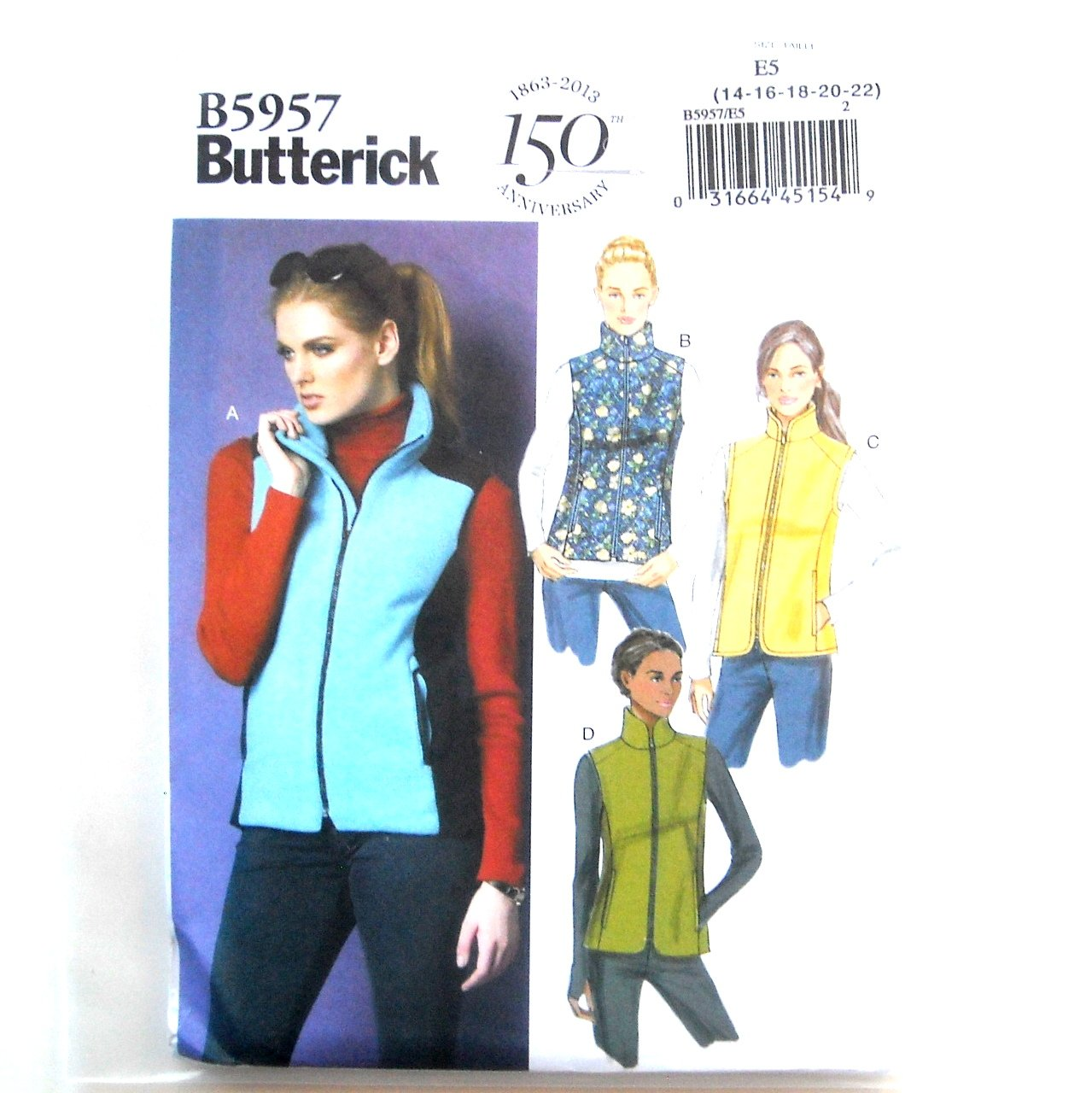Misses Stand Up Collar Vests 14 - 22 Butterick Sewing Pattern B5957