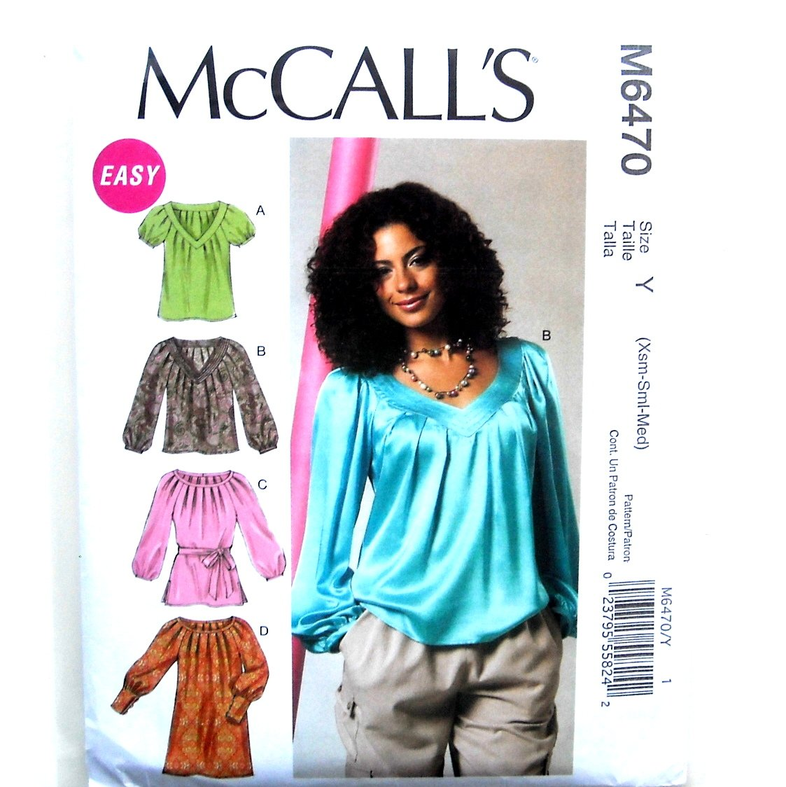 Tops Tunic Dress XS S M Out Of Print McCalls Sewing Pattern M6470