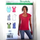 Misses Knit Tops 14 16 18 20 22 Simplicity Sewing Pattern 2364
