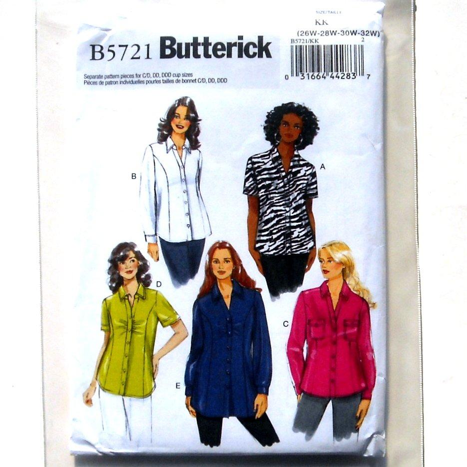 Womens Shirt Plus 26W - 32W Easy Butterick Pattern B5721