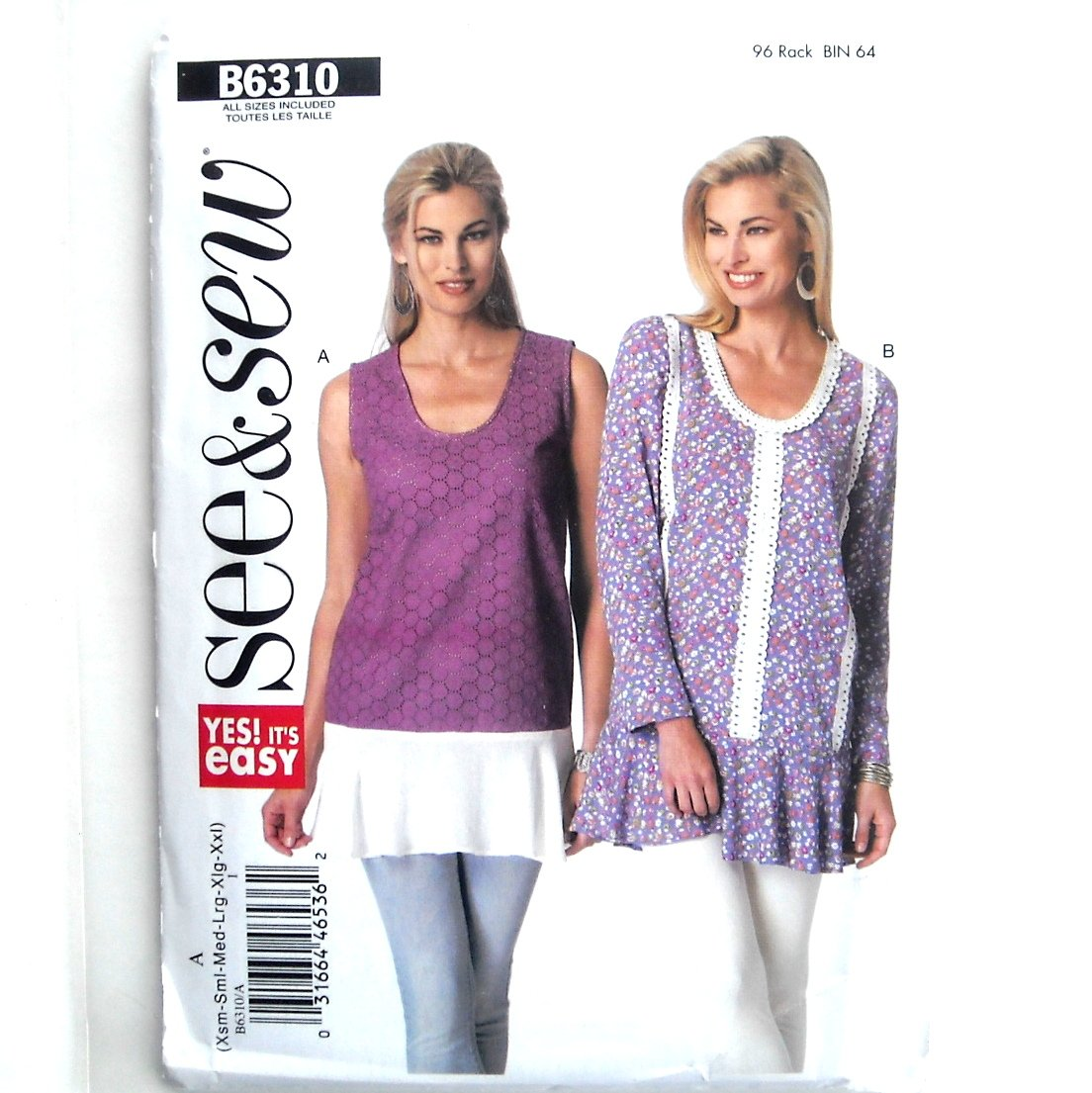 Misses Loose Tops All Sizes Very Easy See & Sew Butterick Pattern B6310
