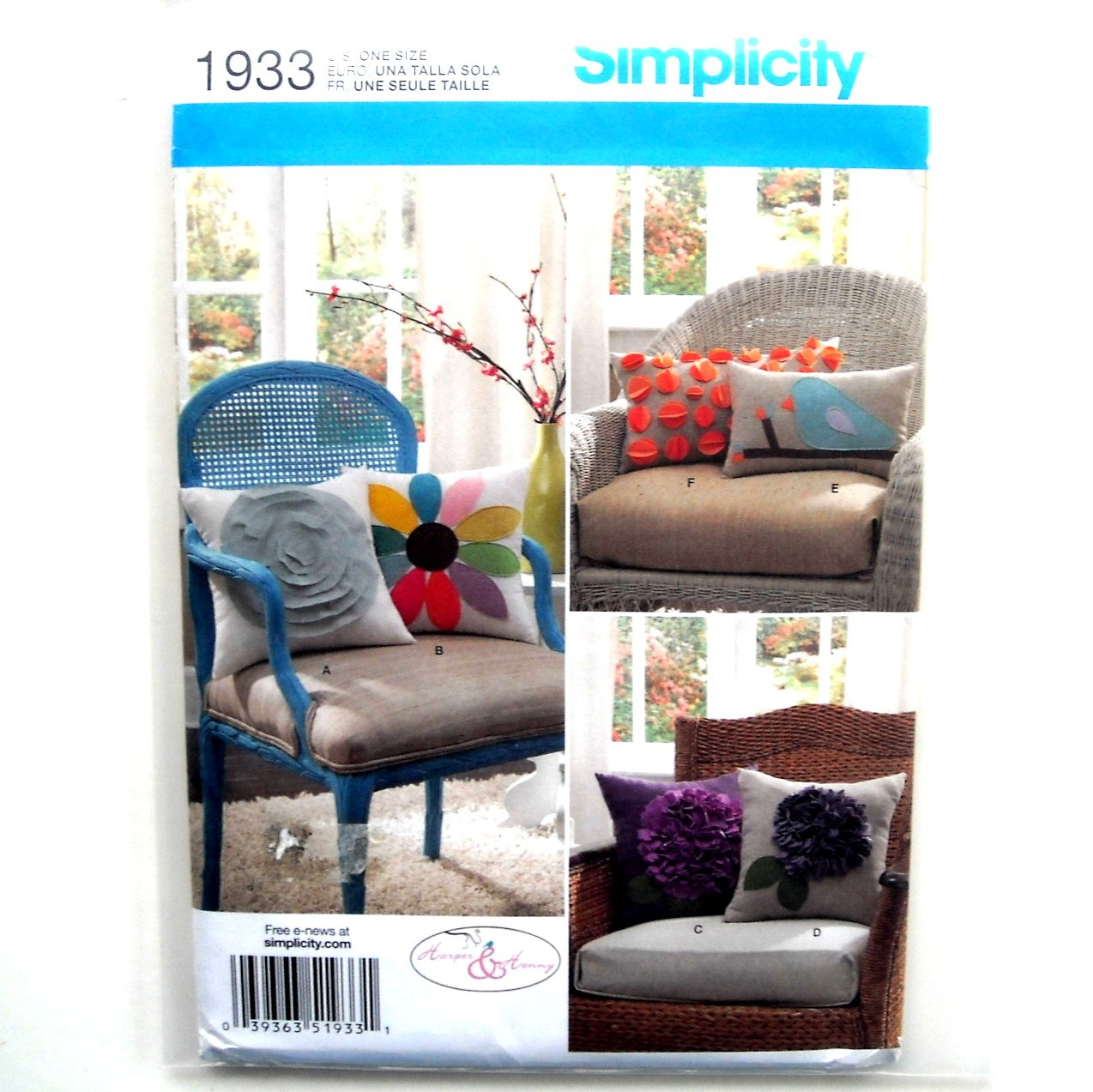 Decorative Pillows 3 Sizes Simplicity Sewing Pattern 1933