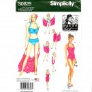 Misses Swimsuits Two Piece Beach Coverups 6 - 14 Simplicity Sewing Pattern S0828