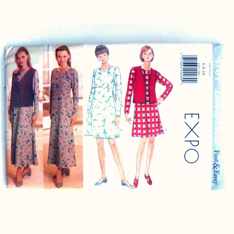 Misses' Petite Vest Dress 6 8 10 Butterick Sewing Pattern 4701