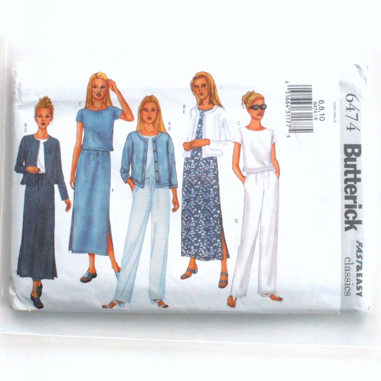 Jacket Top Dress Skirt Pants Misses' Petite 6 8 10 Butterick Sewing Pattern 6474