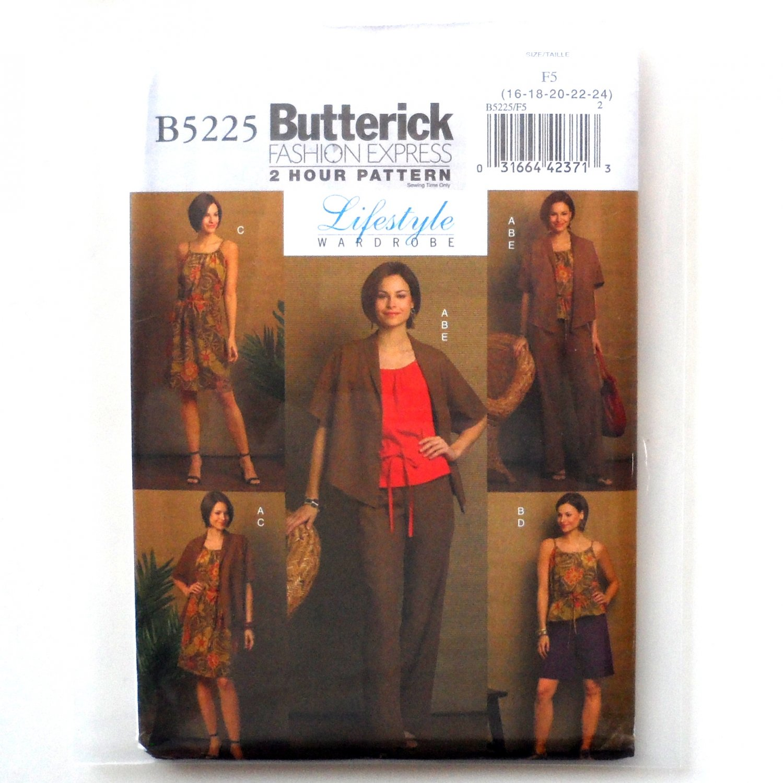 Misses' Jacket Top Dress Shorts Pants Lifestyle Wardrobe Butterick Sewing Pattern B5225