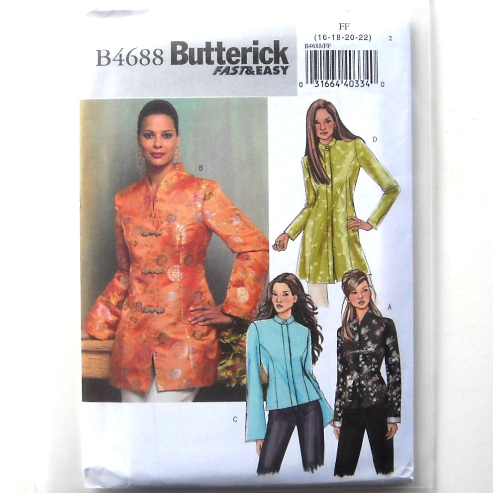 Misses Petite Jacket 16 - 22 Fast Easy Butterick Sewing Pattern B4688