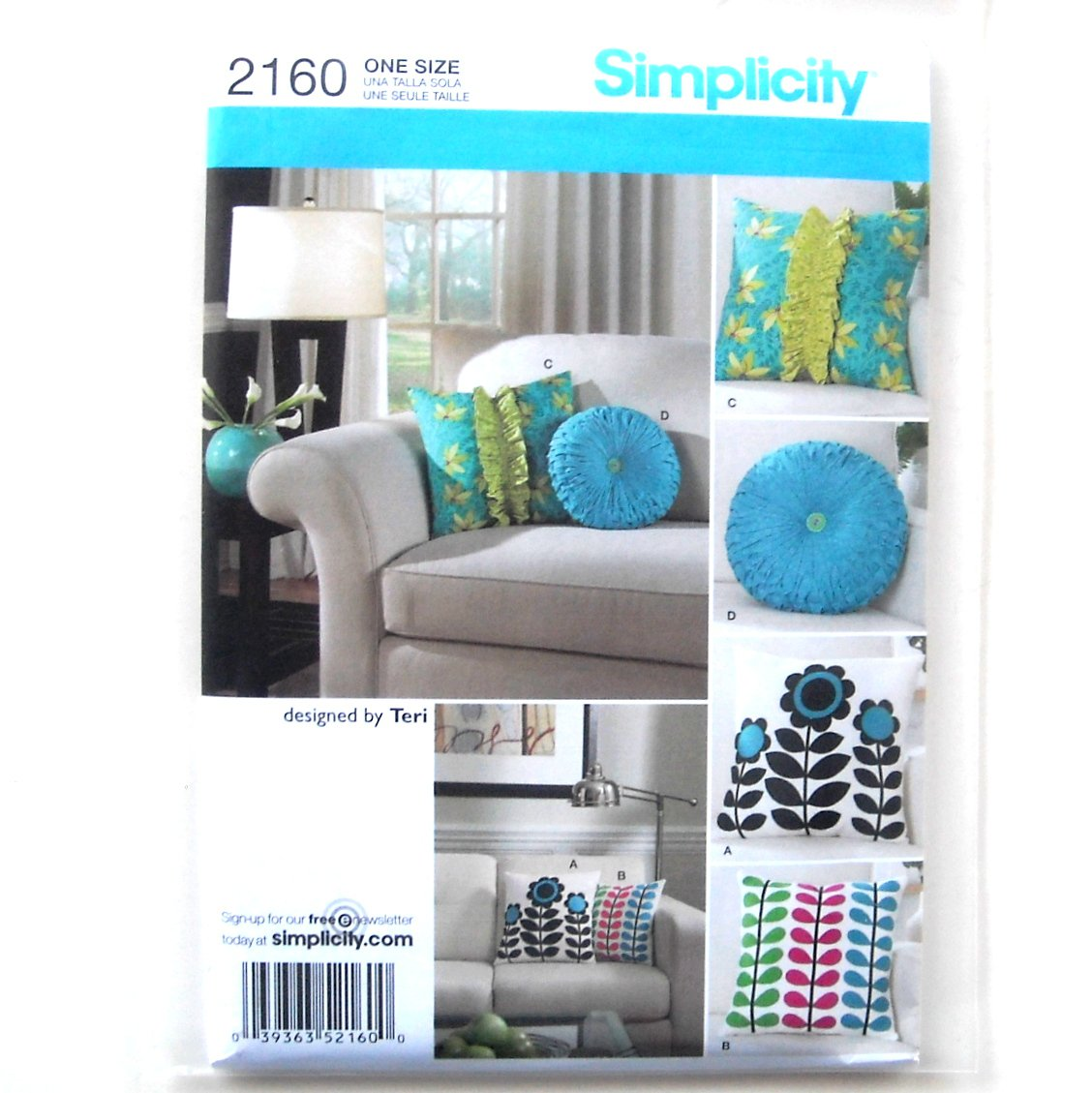 Decorating Pillows Square Round Crafts Home Simplicity Sewing Pattern 2160