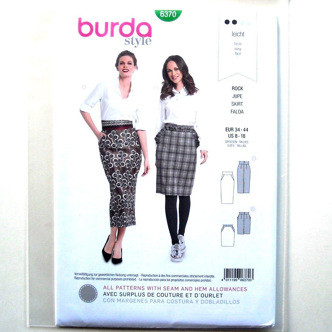 Misses Pencil Skirts Burda Style Sewing Pattern 6370
