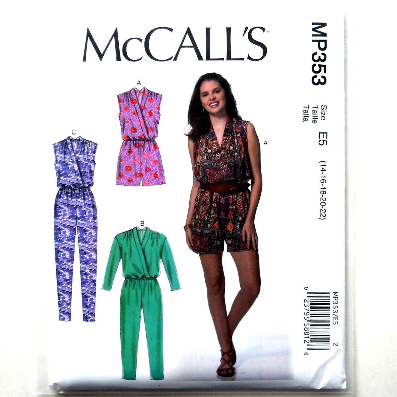 Women's Jumpsuit Romper McCall's Sewing Pattern MP353