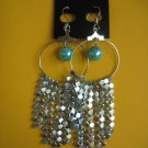 =New= Fashion Earrings:Blue tone metal/beads,Silver tone ring