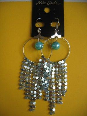 =New= Fashion Earrings:Blue tone metal/beads,Silver tone ring