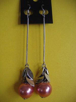 =NEW= Silver Tone Pink Pearl Beads Dangle Earrings