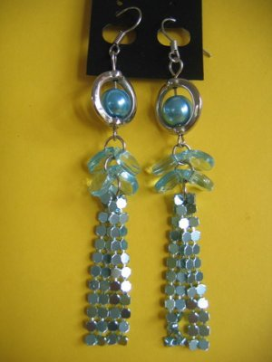 =NEW= Fashion Earrings For Ladies: Blue tone metal/beads