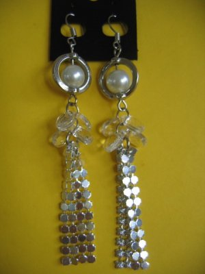 =NEW= Fashion Earrings For Ladies: Silver tone metal/white pearl  beads