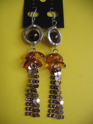 NEW= Fashion Earrings For Ladies: Silver tone metal/brown  pearl beads