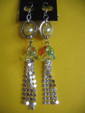 NEW= Fashion Earrings For Ladies: Silver tone metal/yellow  pearl beads