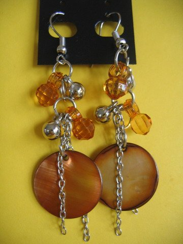 =NEW= Fashion earrings: dangling/ amber&silver tone metal beads/ brown pearl button