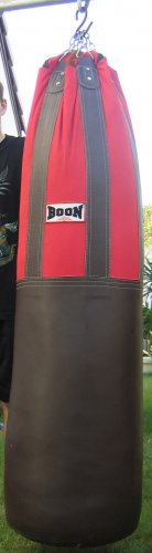 =Excellent condition= Custom made leather/canvas punch/kick bag: 5ft