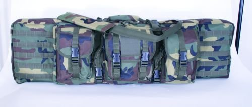 """Voodoo Tactical 42"""" Double Padded Rifle Case w/Mag Pouch Woodland 15-76120"""