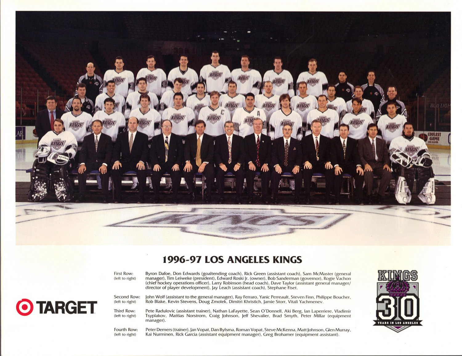 1996-97 Los Angeles Kings Photo From Target Hockey NHL