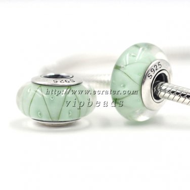S925 Silver Green Looking Murano Glass Beads Charms Fits European Pan Bracelets ZS044