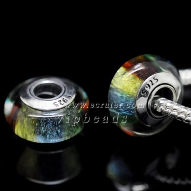 S925 Sterling silver Colorful Murano Glass Beads Charms Fits European jewelry Bracelets ZS064