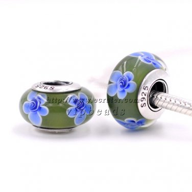 S925 Sterling Silver Blue Flower Murano Glass Beads Charms Fits European jewelry Bracelets ZS095