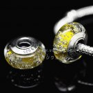 S925 Silver Yellow bubbles Murano Glass Beads Charms Fits European jewelry Bracelets ZS114