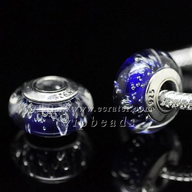 S925 Sterling Silver Blue bubbles Murano Glass Beads Charms Fits European jewelry Bracelets ZS133