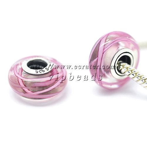 S925 Sterling Silver Pink ribbon Murano Glass Beads Charms Fits European jewelry Bracelets ZS175
