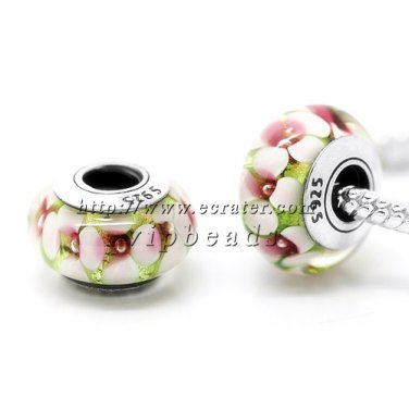 S925 Silver High quality 1: 1 Murano Glass Beads Charms Fits European jewelry Bracelets ZS178