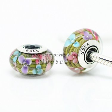 S925 Sterling Silver Multicolor flower Murano Glass Beads Charms Fits European jewelry Bracelets