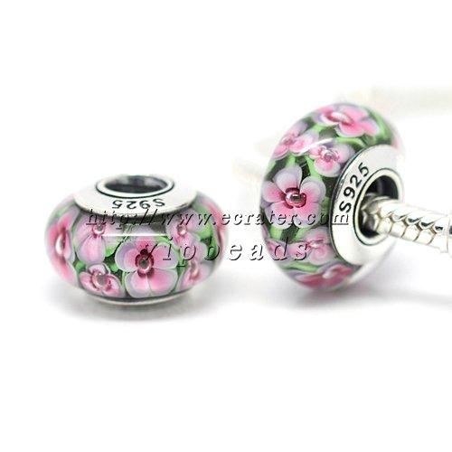 S925 Sterling Silver Pink Floral Murano Glass Beads Charms Fits European jewelry Bracelets ZS222