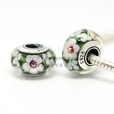 S925 Silver Green white flowers Murano Glass Beads Charms Fits European jewelry Bracelets ZS261
