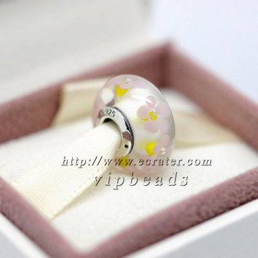 S925 Sterling Silver Meat powder Murano Glass Beads Charms Fits European jewelry Bracelets ZS295