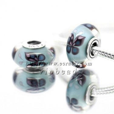 S925 Sterling Silver blue butterfly Murano Glass Beads Charms Fits European jewelry Bracelets ZS297