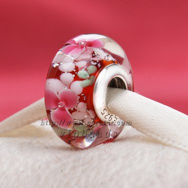 S925 Sterling Silver Flower flash Murano Glass Beads Charms Fits European jewelry Bracelets ZS369